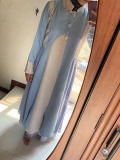 Dress gamis soft blue - white