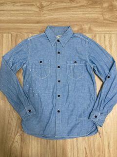 出清!FDMTL 藍色雙口袋工作長袖襯衫-S號