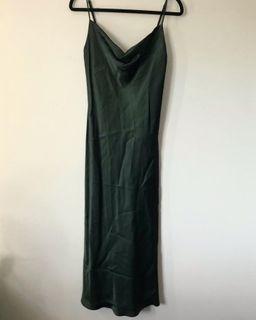 Hunter green satin slip dress