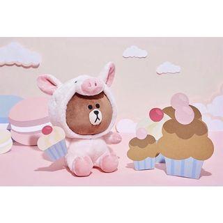 LINE FRIENDS JUNGLE BROWN 叢林熊大系列  粉紅豬 熊大絨毛娃娃 粉紅豬熊大 玩偶 布偶 豬豬裝