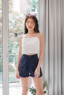 Mikayla Molo Linen Shorts in Navy