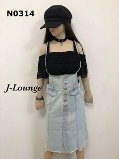 N0314 全新韓版淺藍甜美性感牛仔吊帶中長窄裙suspender denim midi skirt J-Lounge