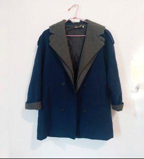 正韓假兩件連帽雙排釦大衣外套毛呢大衣