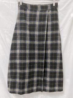灰格紋毛料開衩長裙
