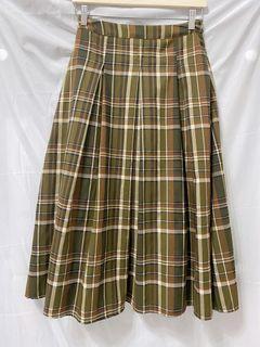綠格子棉質長裙