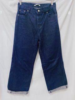 深藍色原色牛仔寬褲