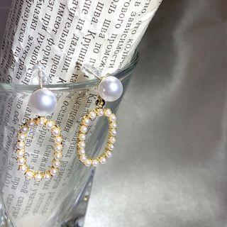 橢圓復古珍珠耳環