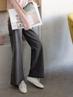 灰色下擺抽鬚刷破牛仔寬褲 #支持