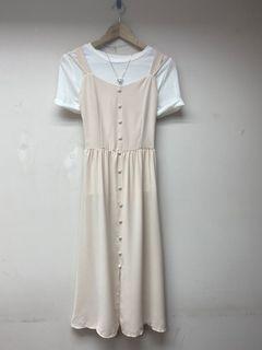 全新韓妞溫柔小文青風米杏色女神款雪紡長洋裝 (低於五折出售)#618