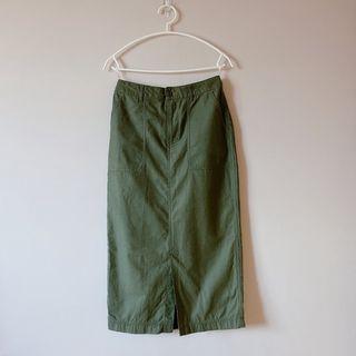 日本購入 軍綠色休閒窄裙 鉛筆裙