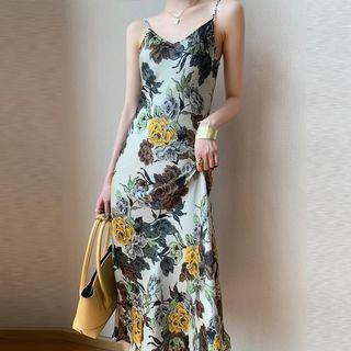 🆕 法式輕熟風氣質大花吊帶洋裝 size:L