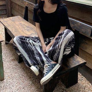 🆕 寬鬆顯瘦扎染高腰直筒垂感拖地闊腿褲 size:XL