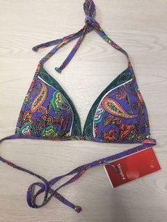 全新 Bikini top Triumph 紫緑花民族風 100%new size 75A全綁帶