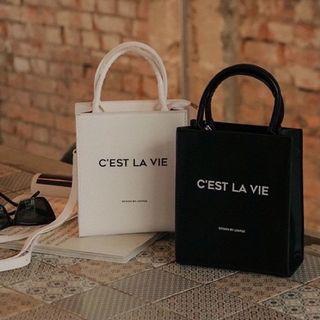 全新 LOVFEE 品牌標語提把小方包 時髦品牌小包 方包 兩用包