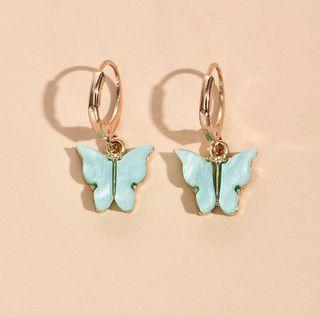 Blue Butterfly Drop Earrings