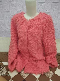 Cardigan Tebal Fuzzy Pink Premium