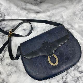 Dior Christian  藍面 滿版 老花 側背 馬鞍包 瑞奇二手精品