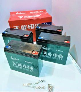 Ebike battery 48volts 20AH, high quality Tianneng Brand, 4peices X 12volts=48volts