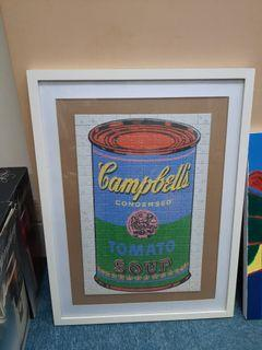 Framed Campbell soup puzzle