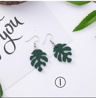 Geometric Green Leaf Drop Earrings