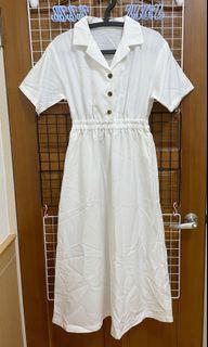 🎌JP 日本 小眾品牌 日系 單排扣 白色 短袖洋裝 短袖連身裙 F