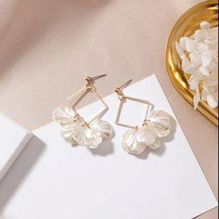 Korean Shell Petals Long Earrings