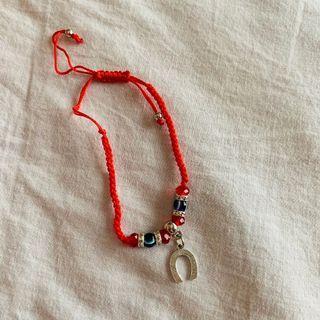 New! Boho Silver Lucky Horseshoe Red Bracelet