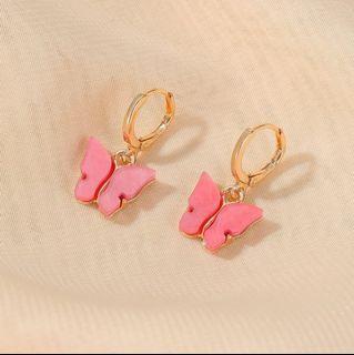 Peach Pink Butterfly Drop Earrings