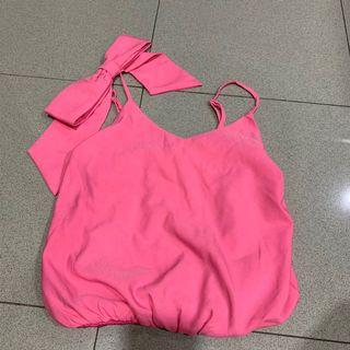 Pink bow tanktop fit to S - M