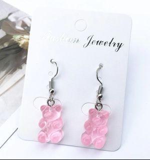 Pink Gummy Bear Drop Earrings