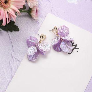 Purple Petal Flower Heart Stud Earrings
