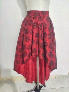 Rok panjang pesta merah asimetris red flower skirt
