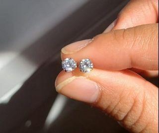 Silver White Crystal Studs