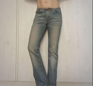 Someone jeans平口褲頭設計修身低腰牛仔長褲