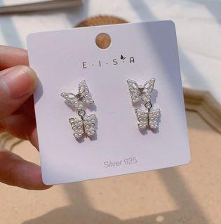 White & Silver Crystal Butterfly Earrings
