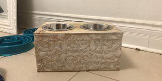 Wooden storage dog bowl