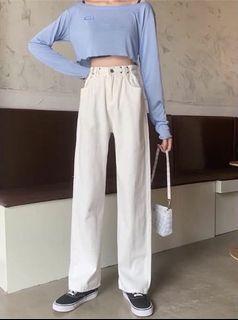 白色直筒調整扣牛仔寬褲長褲