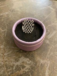 銀色網紋戒指