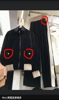 杏➕黑 絨布套裝