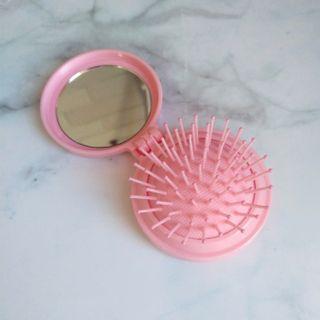 粉色折疊梳子 鏡子