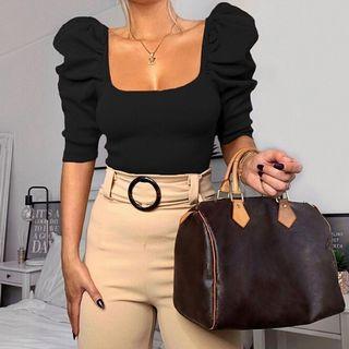 🆕 優雅復古方領泡泡袖棉質修身上衣 size:L #618