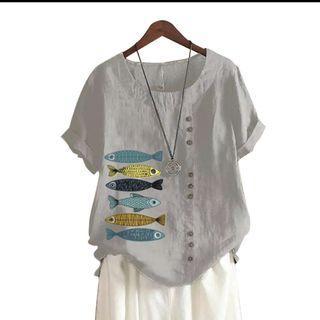 🆕 棉麻寬鬆休閒魚印花鈕釦上衣 size:M-L #618