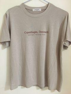 韓 微醺簡約奶茶英文字母短袖T恤