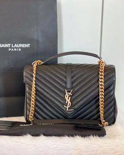 Authentic Ysl College Bag Large In Black GHW