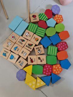 Blocks shapes patterns alphabet colours