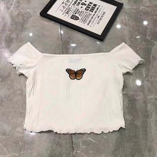 Butterfly Off Shoulder Crop Top