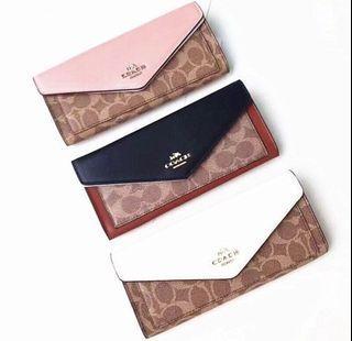 COACH 信封長夾 薄款長夾 翻蓋長夾 皮夾 錢包 長夾 兩種款式可選擇