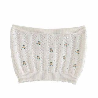 Floral knit basic white bandeau top