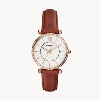 Fossil brown and gold leather watch