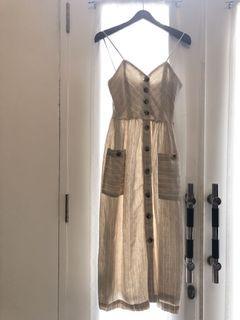 Mango Linen Beige Stripes Dress